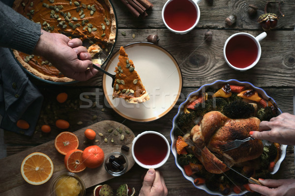 Thanksgiving dinner on the wooden table top view Stock photo © Karpenkovdenis