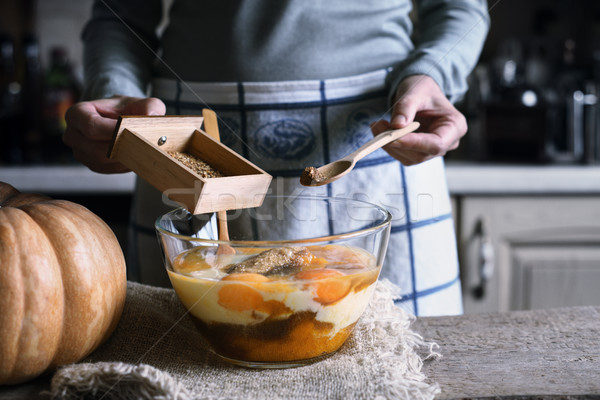 Adding spices in the dough for pumpkin dump cake Stock photo © Karpenkovdenis