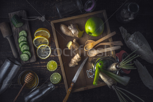 Ingredienti tavolo in legno top view frutta Foto d'archivio © Karpenkovdenis