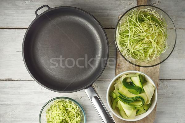 Greggio zucchine pan bianco tavolo in legno Foto d'archivio © Karpenkovdenis