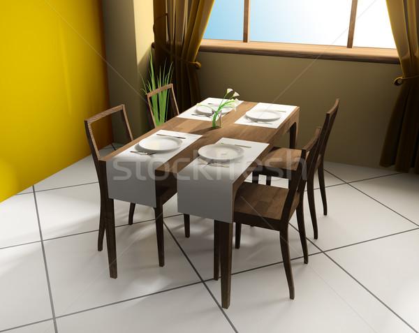 現代 カフェ ダイニングテーブル 3D 画像 食品 ストックフォト © kash76