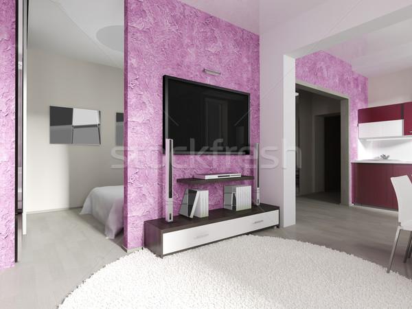 Stockfoto: Moderne · interieur · woonkamer · 3D · huis