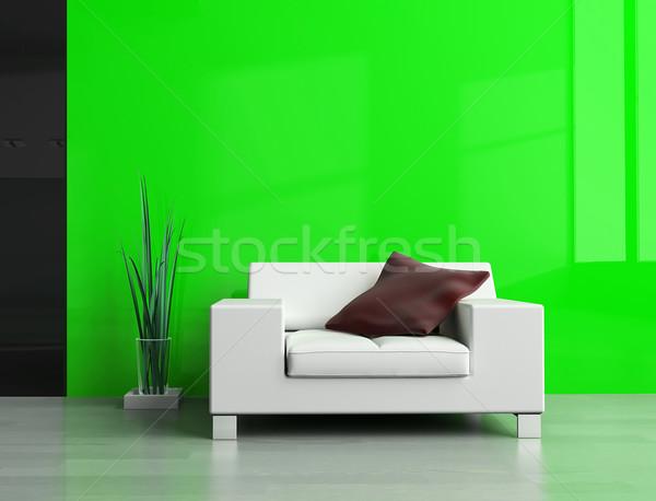 Disegno stanza bianco divano 3D immagine Foto d'archivio © kash76