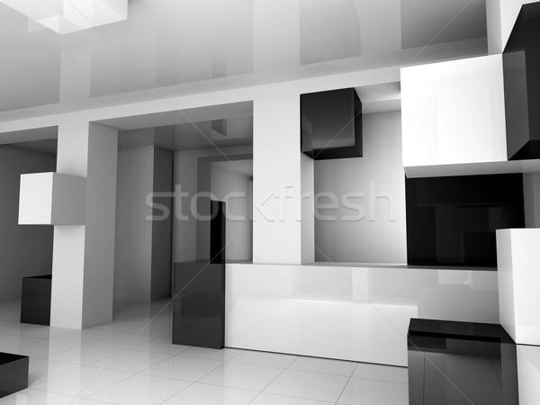Fehér belső feketefehér fekete 3D kép Stock fotó © kash76