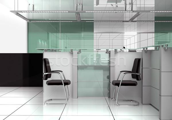 Reception moderno ufficio 3D immagine casa Foto d'archivio © kash76