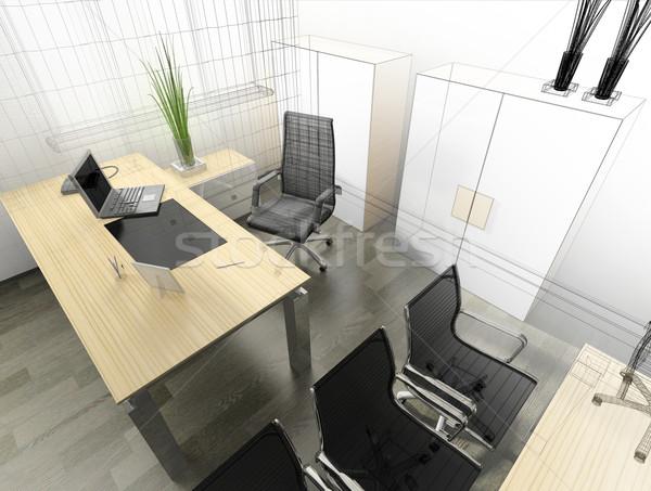 Moderno interior escritório 3D imagem projeto Foto stock © kash76