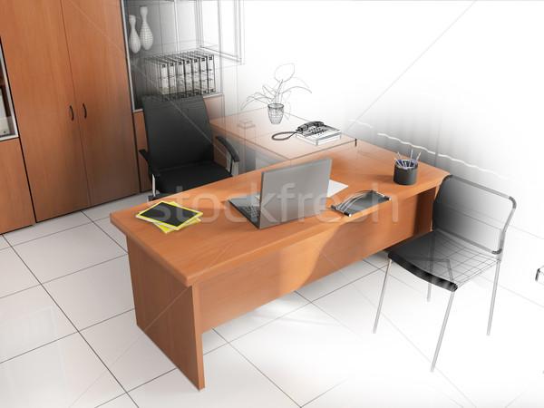 Iroda belső modern stílusú 3D renderelt kép terv Stock fotó © kash76