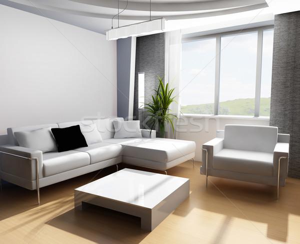Foto stock: Desenho · quarto · 3D · moderno · interior · negócio