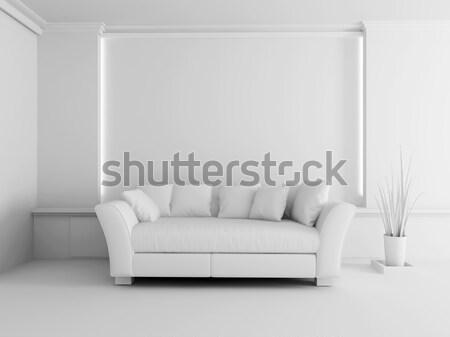 Branco sofá interior sala de estar moderno mobiliário Foto stock © kash76