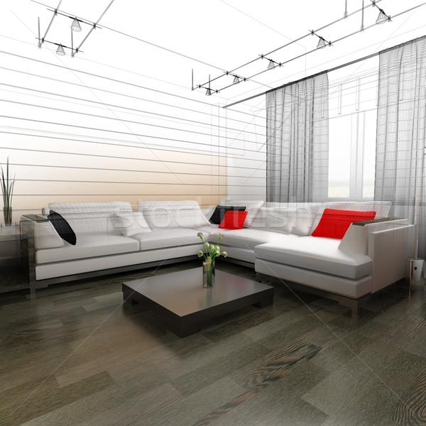 図面 ルーム 現代 ホーム インテリア 3D ストックフォト © kash76