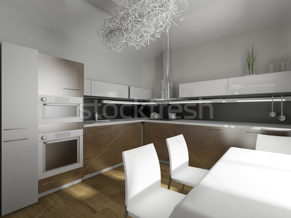 Moderna · diseno · cocina · interior · de · la · cocina · 3d ...