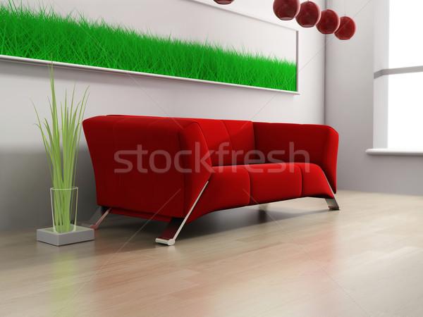 Rosso mobili moderno bianco 3D immagine Foto d'archivio © kash76