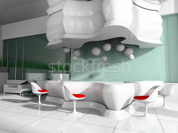 Stock fotó: Recepció · hotel · előcsarnok · 3D · kép · épület