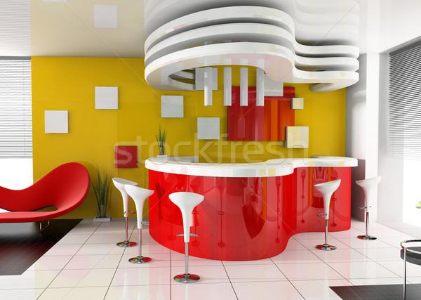 Foto stock: Rojo · recepción · moderna · hotel · 3D · imagen