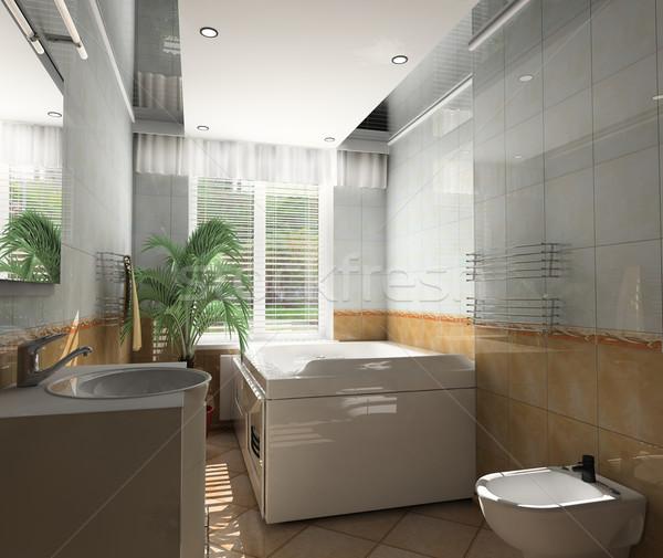 Intérieur salle de bain bain 3D image maison Photo stock © kash76