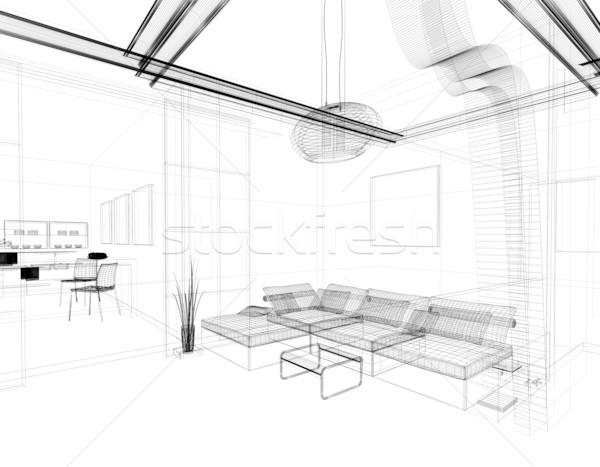 Dibujo habitación moderna blanco lineal aislado Foto stock © kash76