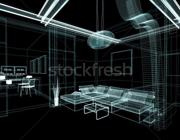 Disegno stanza moderno bianco lineare isolato Foto d'archivio © kash76