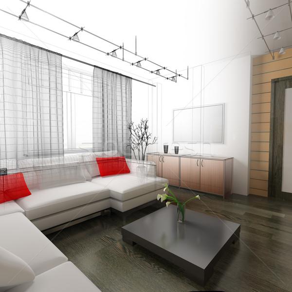 dessin chambre int rieur 3d mur photo stock alexey kashin kash76 907891. Black Bedroom Furniture Sets. Home Design Ideas