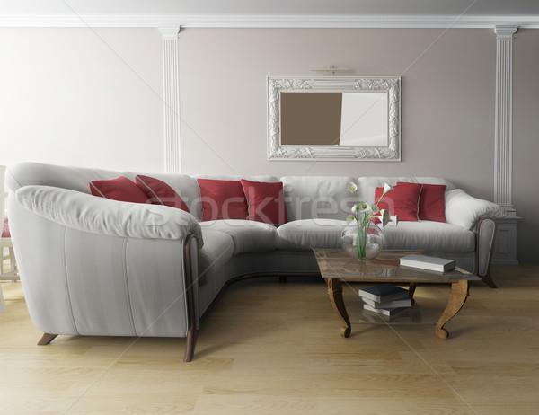Blanche canapé modernes intérieur 3D Photo stock © kash76