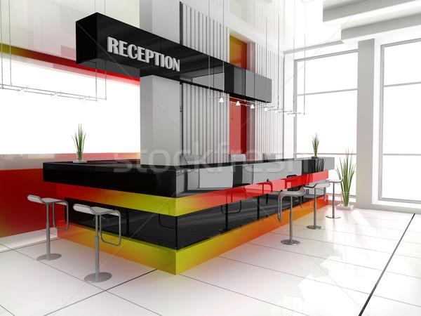 Stock fotó: Recepció · hotel · előcsarnok · 3D · kép · iroda