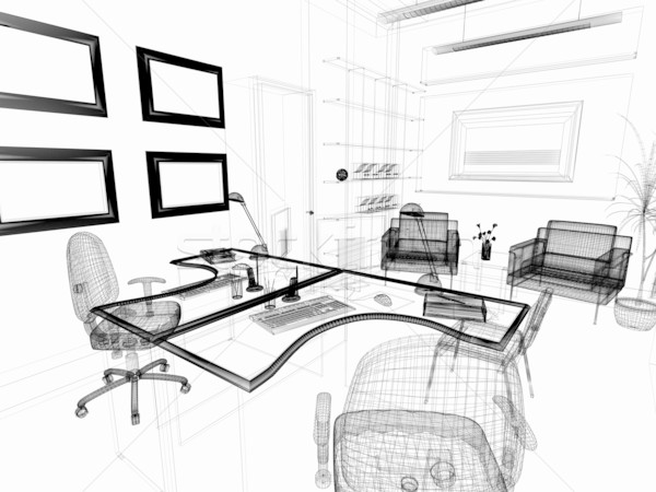 Modernes intérieur bureau 3D image affaires Photo stock © kash76