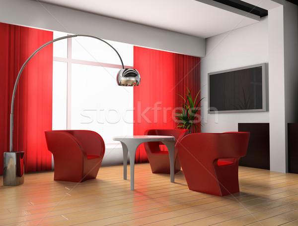 Rojo habitación moderna exclusivo diseno pared Foto stock © kash76