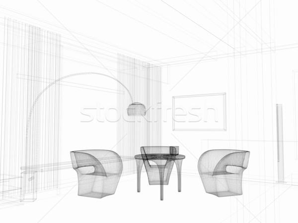 現代 ダイニングルーム ホーム インテリア 3D レンダリング ストックフォト © kash76