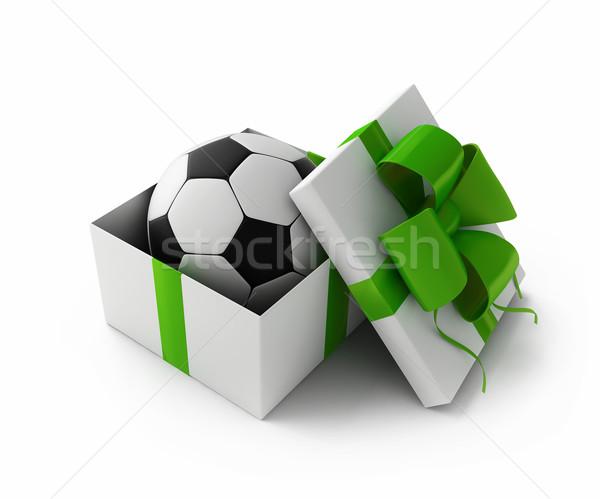 Futebol caixa de presente 3D aniversário cor Foto stock © kash76
