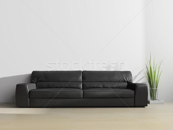Noir canapé modernes intérieur 3D Photo stock © kash76