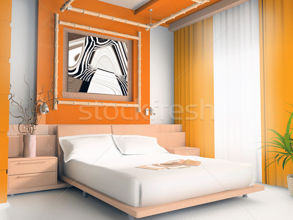 Orange bedroom Stock photo © kash76