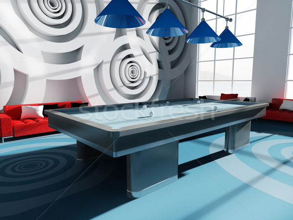 Billard chambre intérieur 3D image mode Photo stock © kash76