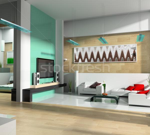 Bianco disegno stanza interni moderno 3D Foto d'archivio © kash76