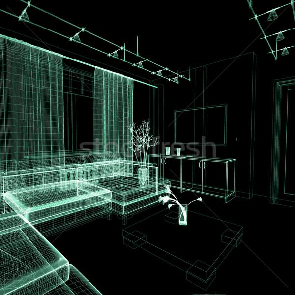 рисунок комнату современных домой интерьер 3D Сток-фото © kash76