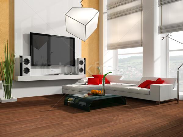 Disegno stanza interni moderno bianco tv Foto d'archivio © kash76