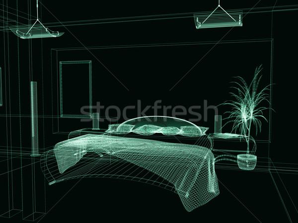 Hálószoba modern stílusú 3D renderelt kép fa építkezés Stock fotó © kash76