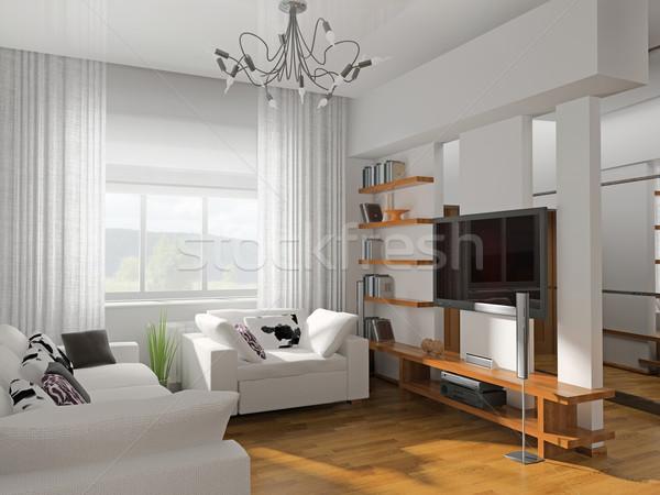 Soggiorno moderno mobili rendering 3d muro home Foto d'archivio © kash76