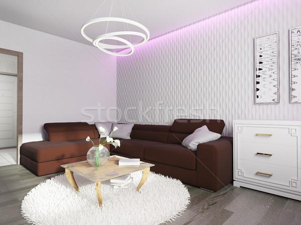 Stok fotoğraf: Beyaz · oturma · odası · iç · ev · duvar · ışık