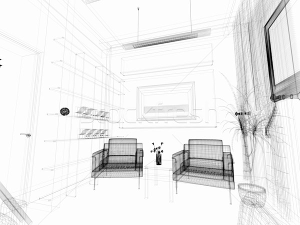 Disegno stanza moderno bianco casa design Foto d'archivio © kash76