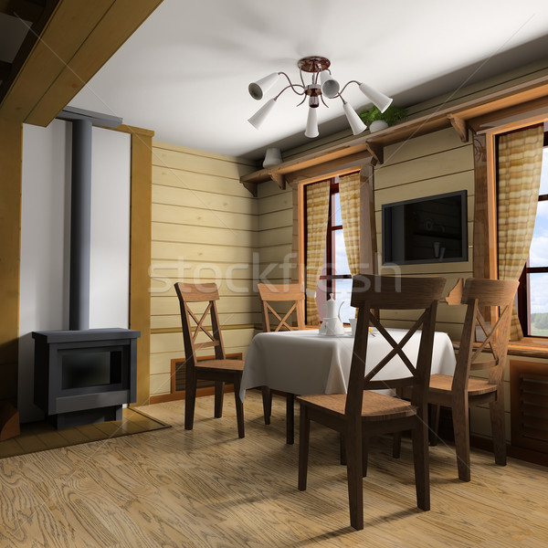 Moderno cucina interno cucina casa 3D immagine Foto d'archivio © kash76