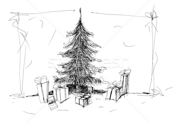 ストックフォト: スケッチ · クリスマスツリー · 黒 · 抽象的な · 芸術 · 色
