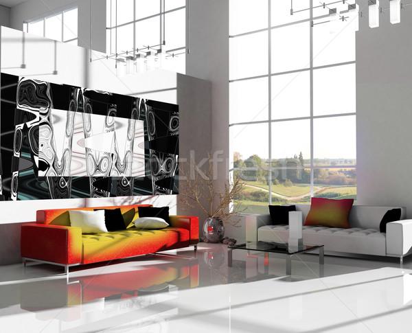 Rosso casa ufficio luce home arte Foto d'archivio © kash76