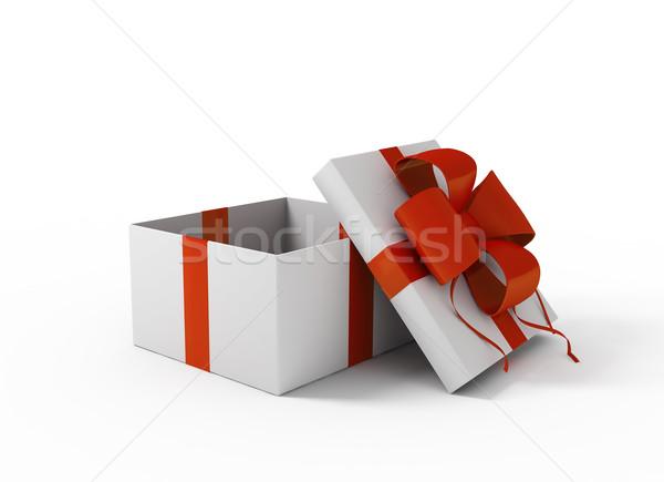 Open bianco scatola regalo compleanno sfondo shopping Foto d'archivio © kash76