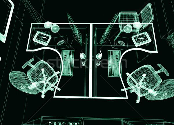 Moderno interni ufficio 3D immagine luce Foto d'archivio © kash76