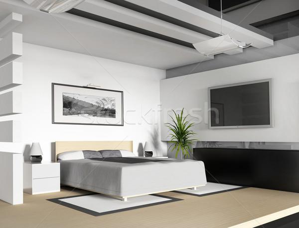 Hálószoba ma otthon művészet bútor belső Stock fotó © kash76