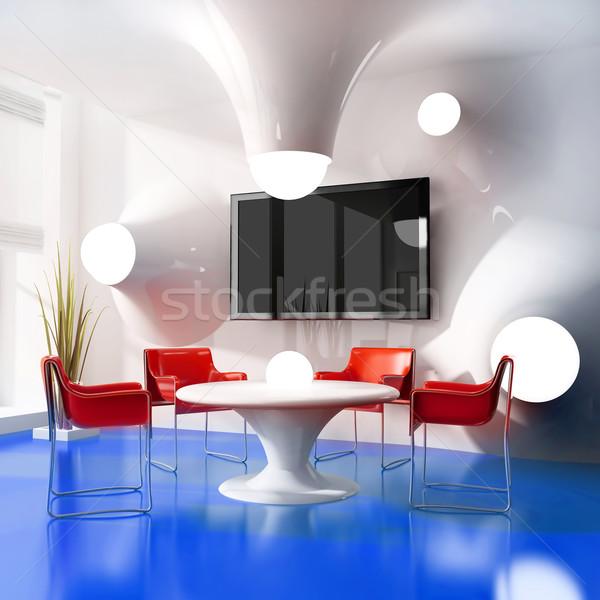 新しい 現代 カフェ ダイニングテーブル 3D 画像 ストックフォト © kash76