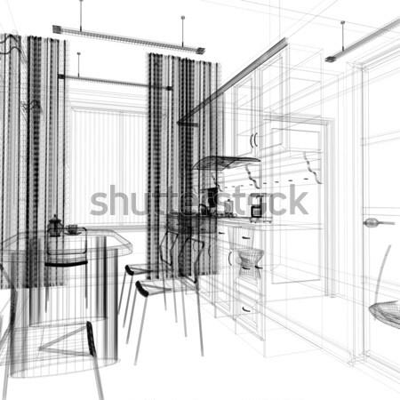 Rajz szoba modern otthon belső 3D Stock fotó © kash76