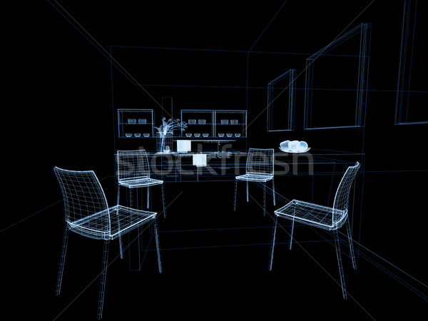 Moderno interno cucina cucina lineare isolato disegno Foto d'archivio © kash76