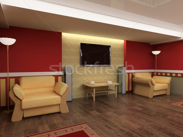 Rajz szoba exkluzív belső piros 3D Stock fotó © kash76