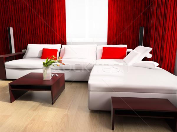 Modern rajz szoba exkluzív terv 3D Stock fotó © kash76