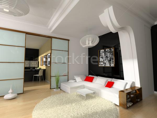 Moderno interni disegno stanza 3D immagine Foto d'archivio © kash76